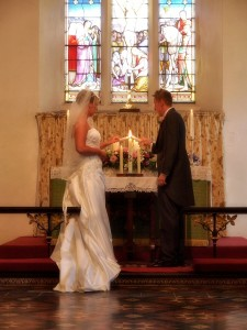St. Johns Cynwyd church lighting of the wedding candles with True Reflections Photography