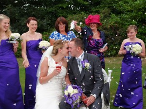 Confetti shot at wrexham weddings