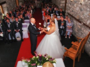 Exchange of roses during weddingceremony at Plas Isaf
