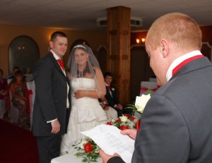 Best Mans Speech during wedding ceremony in Llangollens White Waters