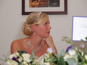 Bride at wedding breakfast in Oswestry