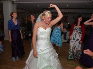 Brides dance with her girls at Oswestry Hotel